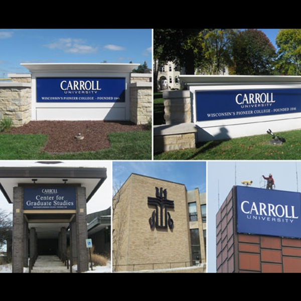 Carroll College exterior signs