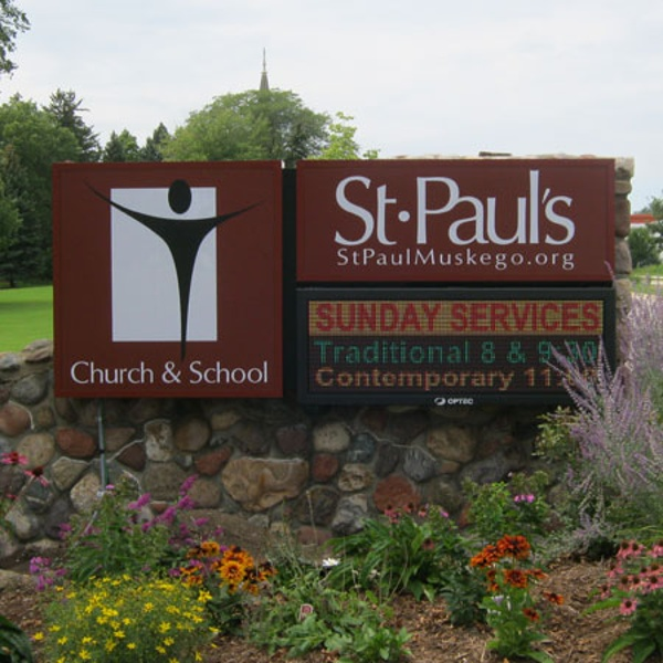 St. Pauls church and school sign