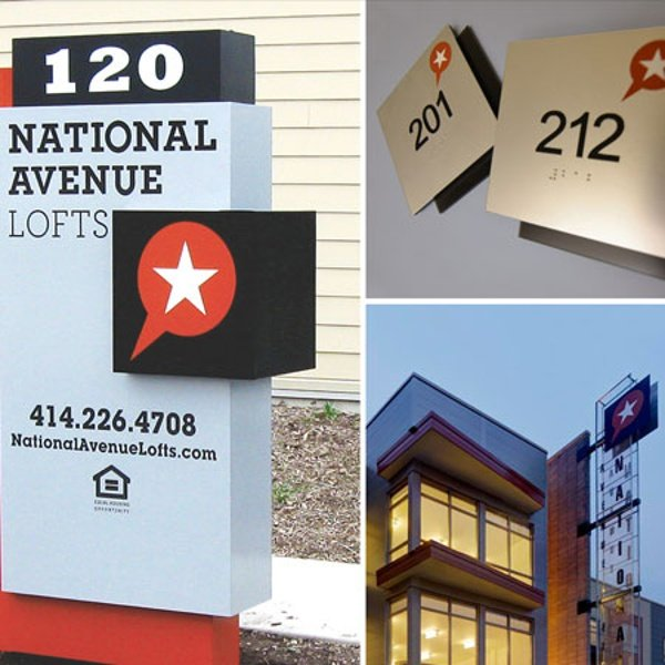 National Ave Lofts apartment signs