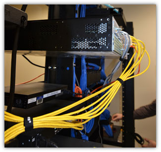 data room, organized data communications cabling