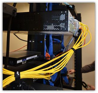 data room, organized data communications cabling