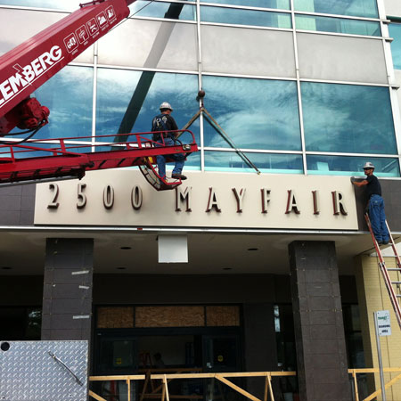 Mayfair mall exterior sign