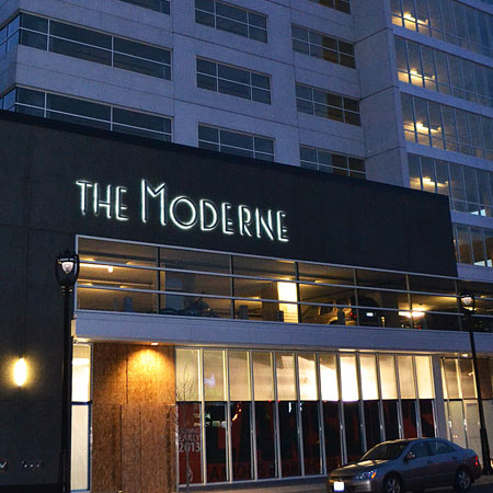 The Moderne business sign