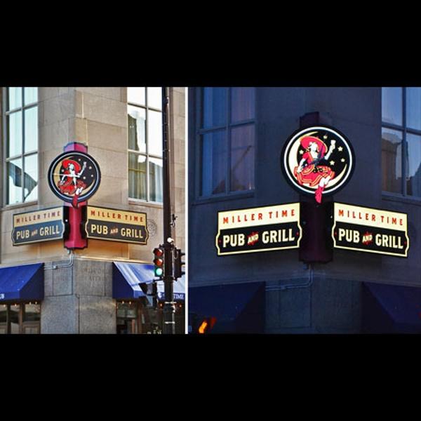 Miller Time Pub exterior sign