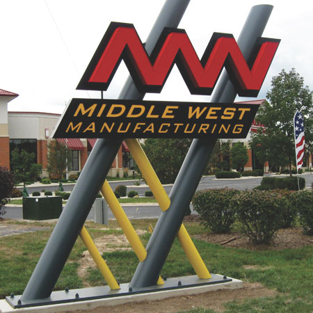 Middle West Manufacturing, Pylon, creative business signs