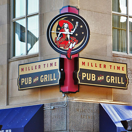 Miller Time Pub sign, creative business signs