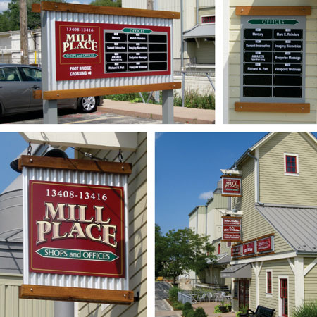 Mill Place wayfinding, creative business signs