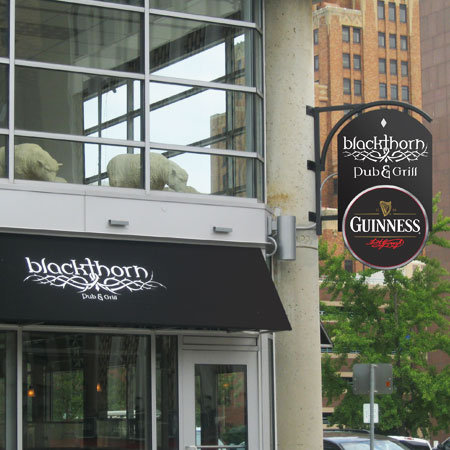 Blackthorn Pub & Grill restaurant sign, creative business signs in Milwaukee