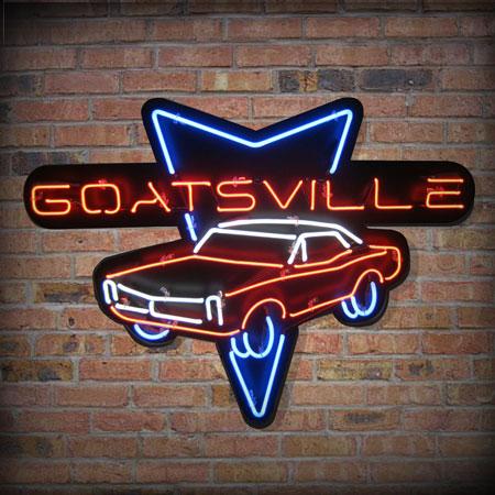 Goatsville, neon, creative business signs