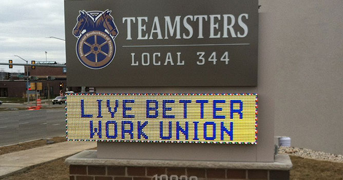 Lemberg Signs & Lighting monument & EMC signage for Teamsters Local 344 in Wisconsin.