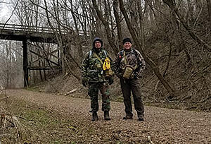 Hikers Hagen and Schmidt on trail in spring 2020