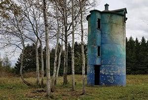 Old Blue tower shaped like cylander.